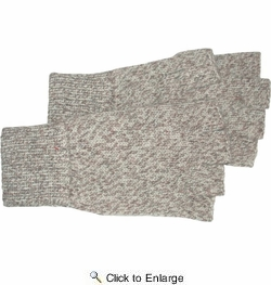 Boss 244LL  Brown Tweed Rag Wool Fingerless Gloves with Ribbed Knit Wrist - Large