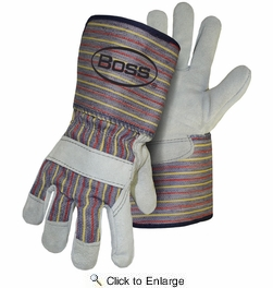 Boss 4046  Cowhide Split Leather Palm Gloves with Gauntlet Cuff - Large
