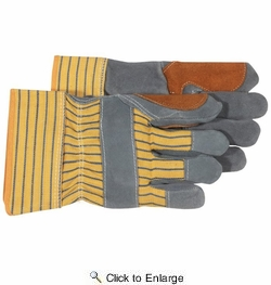 Boss 4057  Side Split Cowhide Leather Palm Gloves with Safety Cuff - Large