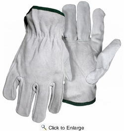 Boss 4065  Gray Split Cowhide Leather Driver Gloves - Medium
