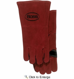 Boss 4096  Split Leather Welders Gloves with Gauntlet Cuff - Large