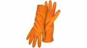 """Boss 4708  28-mil Latex Orange Flock Lined Gloves with Diamond Grip and 13"""" Rolled Cuff - Medium"""