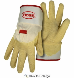 Boss 8424  Power Grip+ Latex Dipped Gloves - Large