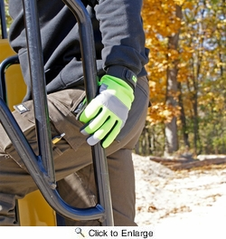 Boss CAT012214  Cat Gloves Hi-Vis Green Utility Gloves with Padded Palm - Large