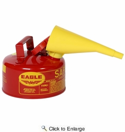 Eagle UI10FS  1 Gallon Type I Metal Safety Gas Can with F15 Funnel