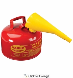 Eagle UI20FS  2 Gallon Type I Metal Safety Gas Can - Red with F15 Funnel