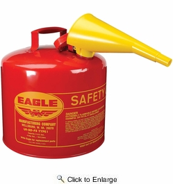 Eagle UI50FS  5 Gallon Type I Metal Safety Gas Can - Red with F15 Funnel