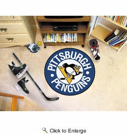 "Fan Mats 11052  NHL - Pittsburgh Penguins 27"" diameter Puck Mat"