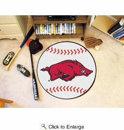 "Fan Mats 2132  UA - University of Arkansas Razorbacks 27"" Diameter Baseball Shaped Area Rug"