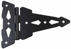 "Gatemate 0502053  8"" Fancy Tee Hinge with Removable Pin - Black Finish - 1 Pair"