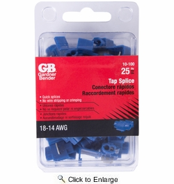 GB Gardner Bender 10-100  Tap Splices  - Blue 16-14 Awg - 25 per Package