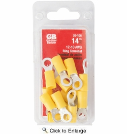 GB Gardner Bender 20-106  Vinyl Insulated Ring Terminal for #8-#10 Stud - Yellow 12-10 AWG - 14 per Package