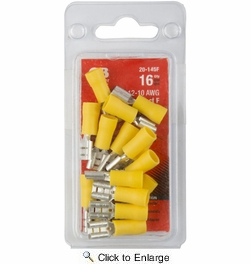 """GB Gardner Bender 20-145F  Vinyl Insulated Female 1/4"""" (0.250"""") Tab Disconnects - Yellow 12-10 AWG - 16 per Package"""
