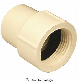 "Genova Products 50310  1"" Threaded FIP CPVC Tubing Female Adapter to 1"" Slip Tubing Fitting (Slip x FIP)"