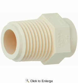 "Genova Products 50405  1/2"" Threaded MIP CPVC Tubing Male Adapter to 1/2"" Slip Tubing Fitting (Slip x MIP)"