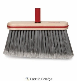 """Harper Brush  115-4  9"""" Angled Smooth Sweep Upright Broom With Vinyl Bumper"""