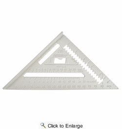 """Johnson Level & Tool Manufacturing RAS-1  7"""" Johnny Square Aluminum Rafter Angle Square with Manual"""