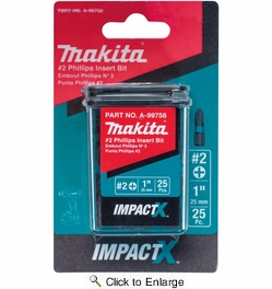 "Makita A-99758  ImpactX #2 Phillips 1"" Insert Bit, 25 per package"