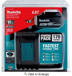 Makita BL1850BDC1  18V LXT Lithium?Ion Battery and Charger Starter Pack (5.0Ah)