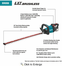 """Makita XHU08Z  18V LXT Lithium-Ion Brushless Cordless 30"""" Hedge Trimmer (Tool Only)"""