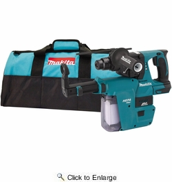 "Makita XRH01ZVX  18V LXT Lithium-Ion Brushless Cordless 1"" Rotary Hammer, accepts SDS-PLUS bits, with HEPA Dust Extractor Attachment, Tool Only"