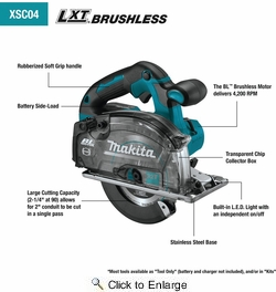 """Makita XSC04Z  18V LXT Lithium-Ion Brushless Cordless 5?7/8"""" Metal Cutting Saw, with Electric Brake and Chip Collector (Tool Only)"""