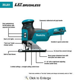 Makita XVJ01Z 18V LXT® Lithium-Ion Brushless Cordless Barrel Grip Jig Saw, Tool Only
