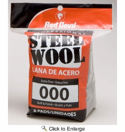 Red Devil 0321RD  Steel Wool Extra Fine 8 Pack #000