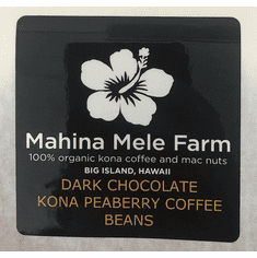 Dark Chocolate Covered Peaberry Coffee -Beans- 6oz
