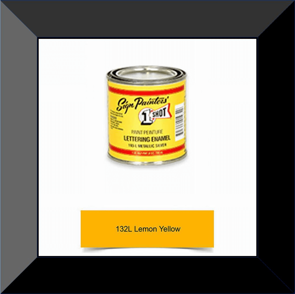 "1 Shot 132L-4Z ""Lemon Yellow"" Stripe & Lettering Enamel 1/4 Pint"