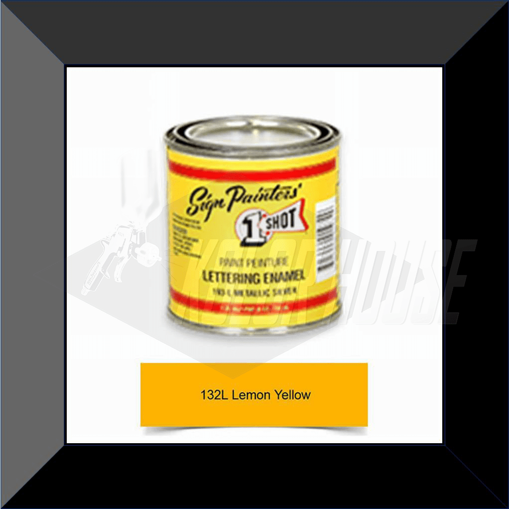 "1 Shot 132L-8Z ""Lemon Yellow"" Stripe & Lettering Enamel 1/2 Pint"