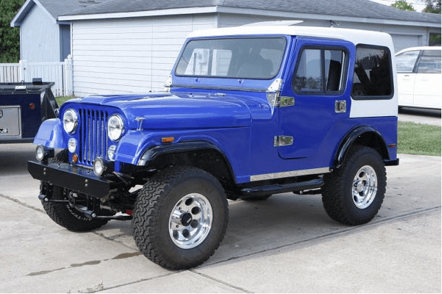 1981 Jeep CJ5 restored and painted by C Brown, TX. Color is PBC36 Trueblue over BC02 Orion Silver.