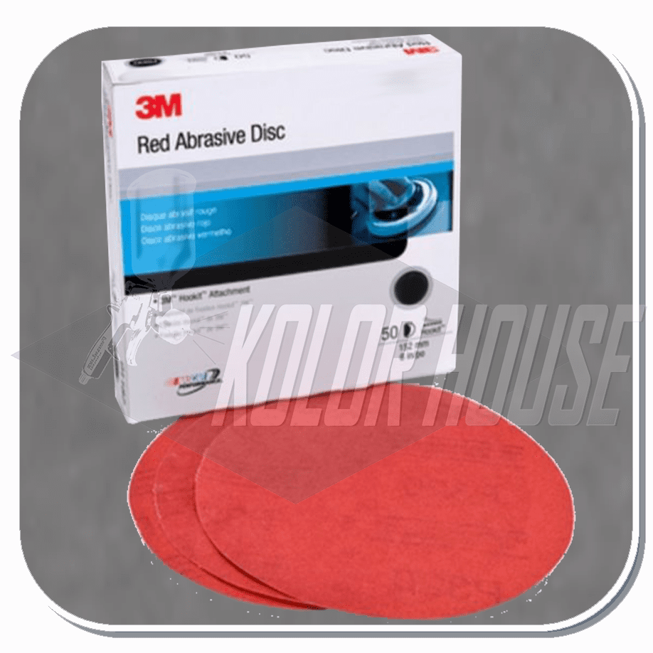 3M 6 in, P180, Red Abrasive Hookit Disc, 50 discs per box