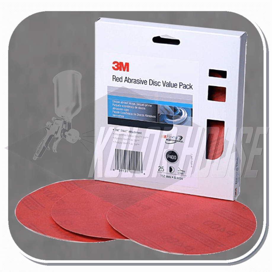 3M 6 in, P220, Red Abrasive Stikit Disc Value Pack, 25 discs per packks per case