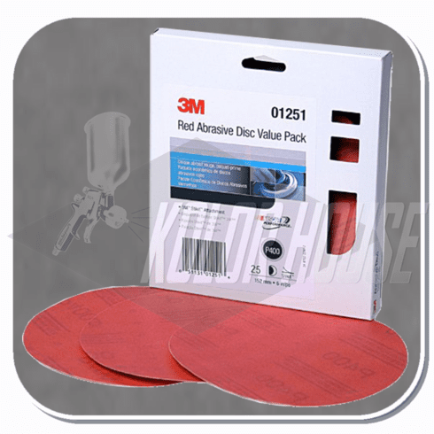 3M 6 in, P400, Red Abrasive Stikit Disc Value Pack, 25 discs per pack