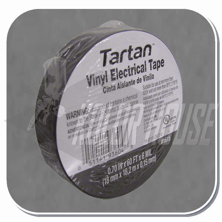 3M-93604 Tartan Electrical Tape, 1615, 0.709 in x 60 ft x 6 mil (18 mm x 18,2 m x 0,15 mm), 100/case