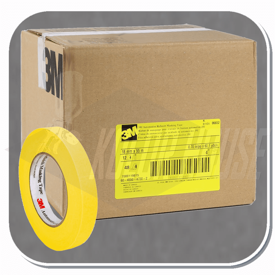 3M� Automotive Refinish Masking Tape, 06652, 18 mm x 55 m, 48 per case (upc code-00051131066526)