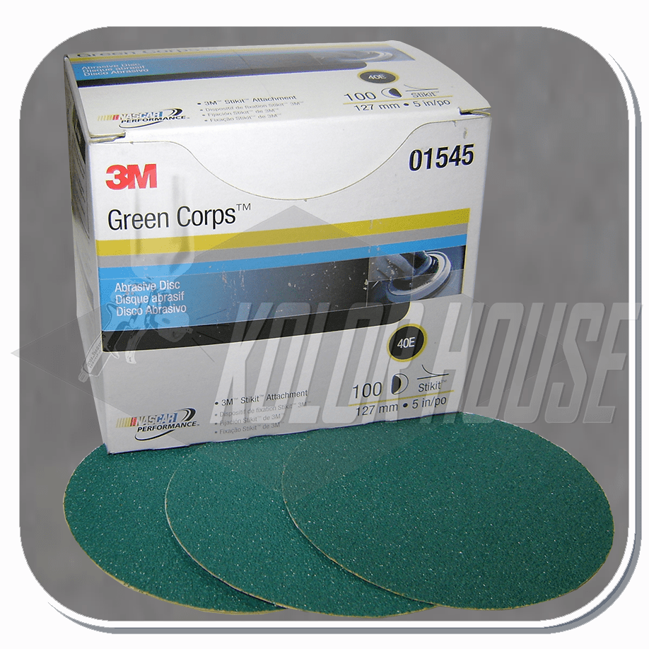 3M Green Corps Stikit Production Disc, 01545, 5 in, 40E, 100 discs per box, 5 boxes per case