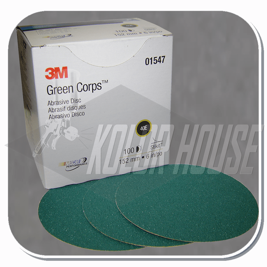 3M Green Corps Stikit Production Disc, 01547, 6 in, 40E, 100 discs per box, 5 boxes per case