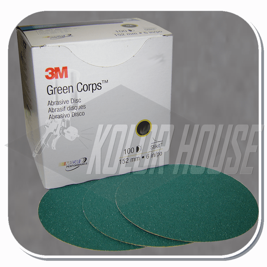 3M Green Corps Stikit Production Disc, 01548, 6 in, 36E, 100 discs per box, 5 boxes per case