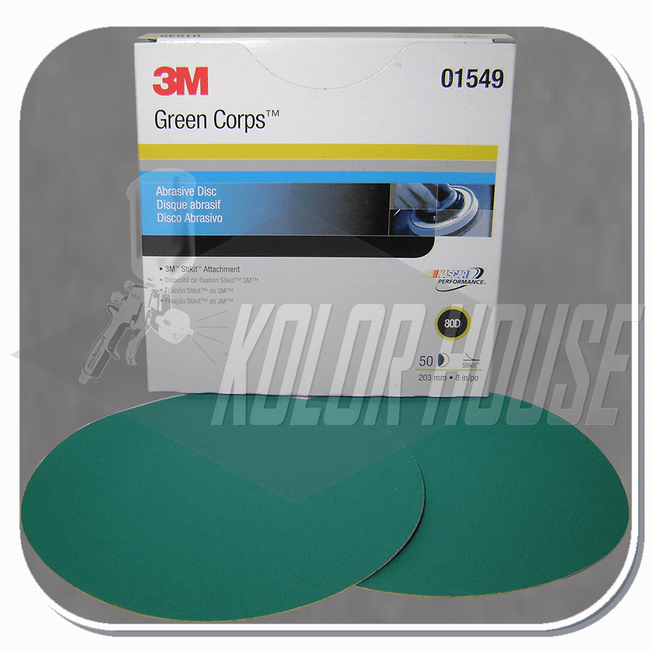 3M Green Corps Stikit Production Disc, 01549, 8 in, 80D, 50 discs per box, 5 boxes per case