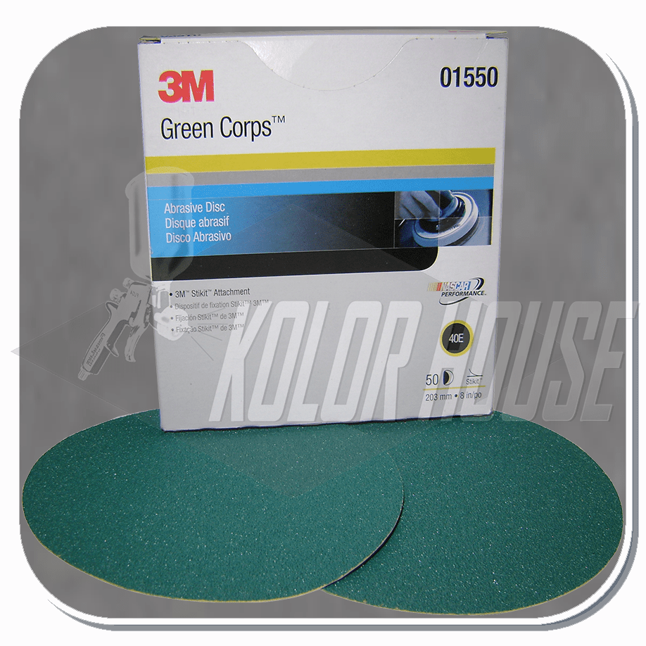 3M Green Corps Stikit Production Disc, 01550, 8 in, 40E, 50 discs per box, 5 boxes per case