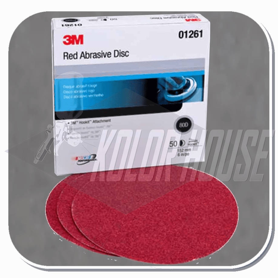 3M Red Abrasive Hookit Disc, 01261, 6 in, P80D, 50 discs per box, 6 boxes per case