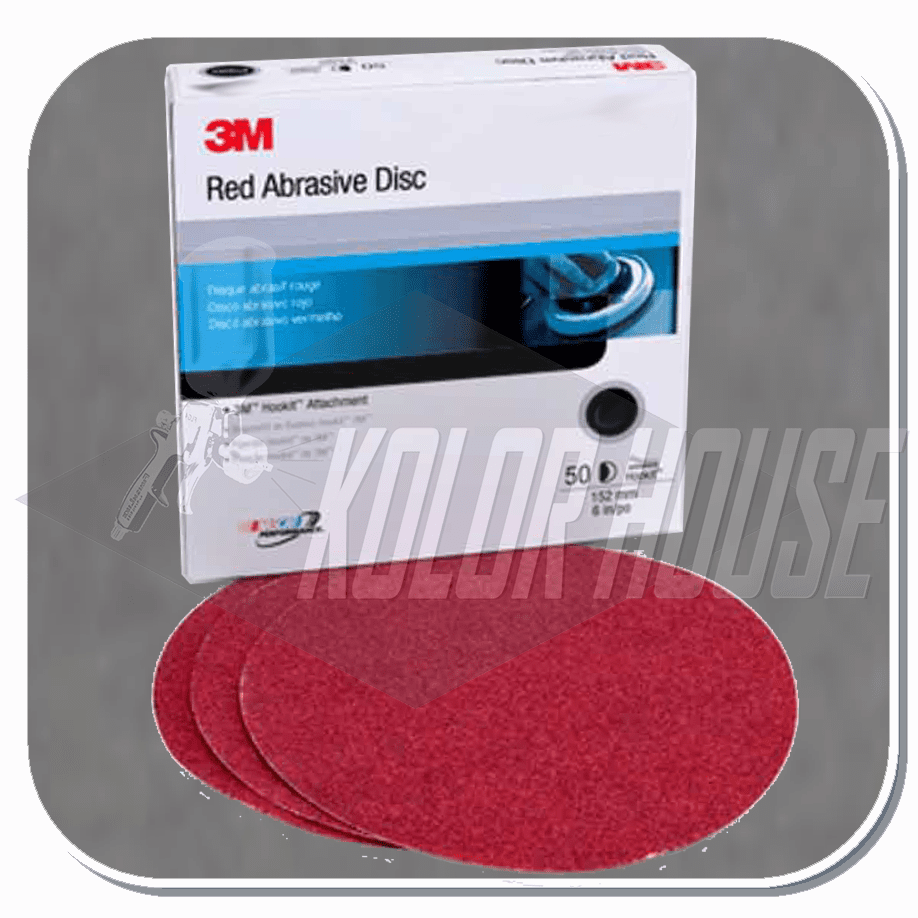 3M Red Abrasive Hookit Disc, 01262, 6 in, 40D, 25 discs per box, 6 boxes per case