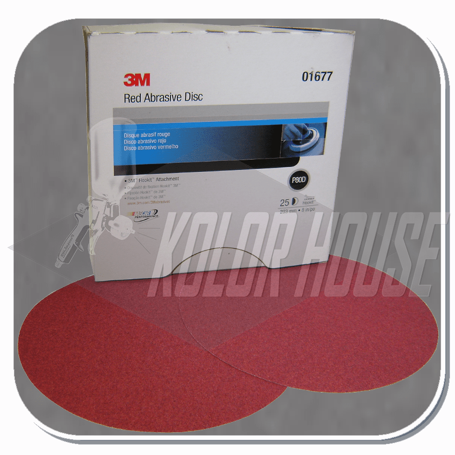 3M Red Abrasive Hookit Disc, 01677, 8 in, P80 D Weight, 25 discs per box, 5 boxes per case