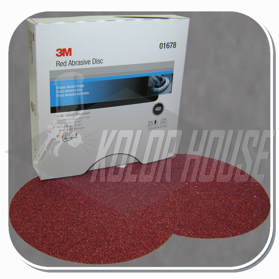 3M Red Abrasive Hookit  Disc, 01678, 8 in, 40 D Weight, 25 discs per box, 5 boxes per case