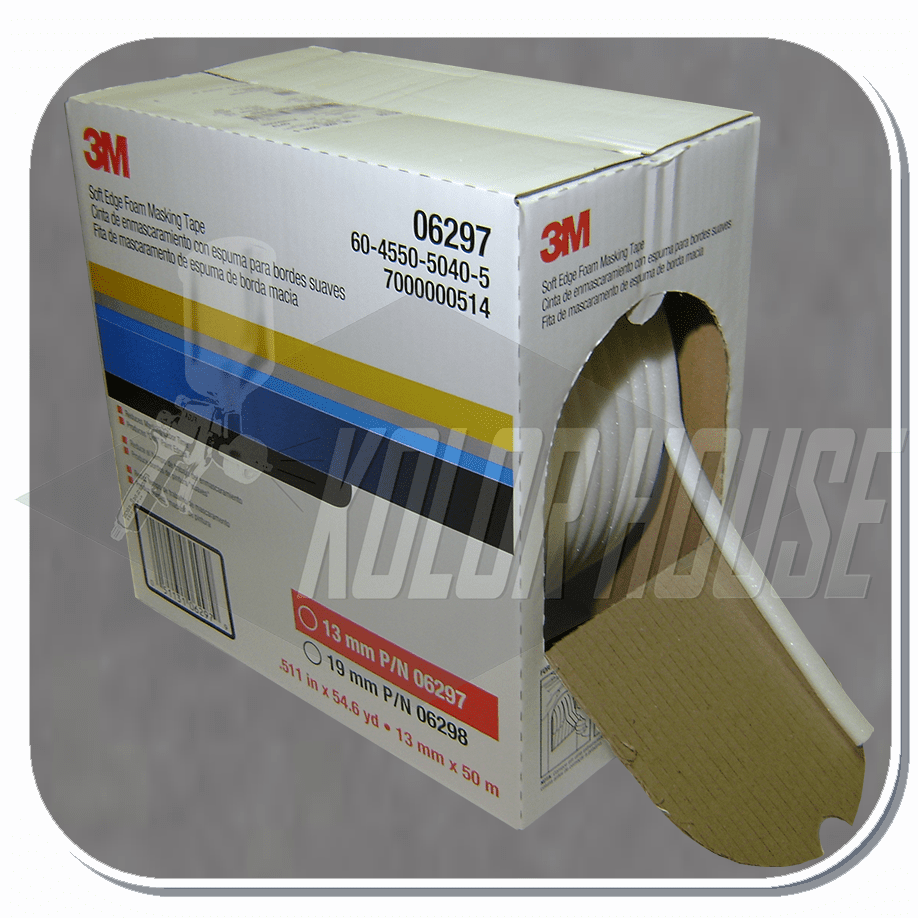 3M� Soft Edge Foam Masking Tape, 06297, 13 mm x 50 m, 1 per case (upc code-00051131062979)