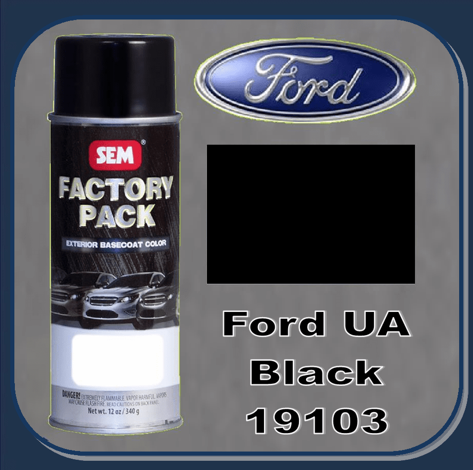 """DISCONTINUED"" SEM-19103 SEM Factory Pack Basecoat Ford Paint Code UA ""BLACK"" 12oz Aerosol"