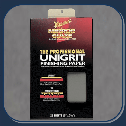 MEG-S3025 Meguiar's Unigrit Wet or Dry Finishing Sandpaper 3000grit. 25 Sheets Per Sleeve.