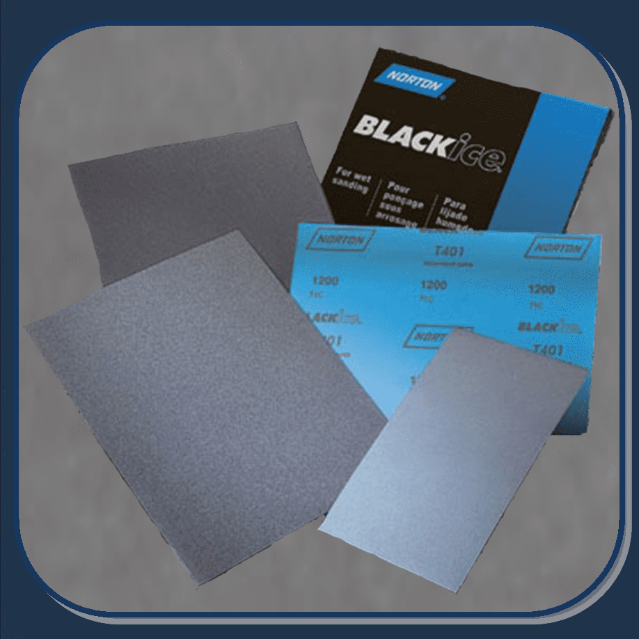 """NOR-39386 NORTON 320 grit 9"""" x 11"""" Black Ice """"WET or DRY"""" 50 sheets per sleeve"""